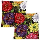 Toland Home Garden 761214 Zippy Zinnias 18 x 18 Inch Indoor/Outdoor, Pillow, Case (2-Pack)