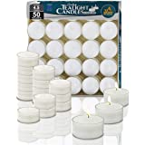 Clear Cup Tea Light Candles - 50 Bulk Pack - White Unscented Travel Centerpiece Decorative Candle - 4.5 Hour Burn Time - By N