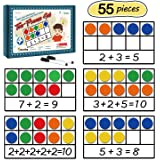 Torlam Giant Magnetic Ten-Frame Set - Math Manipulatives for Elementary - 5 Ten Frames & 55 Magnetic Math Counters for Kids,