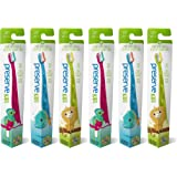 Preserve Recycled (Made in the USA) Kids Toothbrushes, Soft Bristles, 6-Count, Assorted Colors