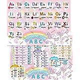 アルファベット表 お風呂ポスター 2枚セット ユニコーンデザイン ABC表 B3サイズ(横51.5cm 縦36.4cm) 防水 お風呂の学校
