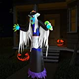Kurala Halloween Decoration Outdoor Inflatable Witch,8 FT Giant Halloween Blow Up Yard Decoration, Built-in LED Lights