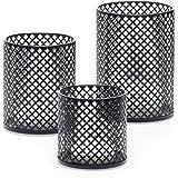 Decorative Metal Candle Holders Set of 3 - Complementary 3 Votive Candles - Elegant Matte Black Finish - Candle Holder Center
