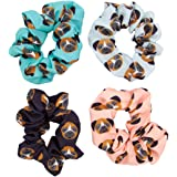 Happie Hare Boxer Dog Breed Hair Scrunchies 4 Pack Cotton Elastic Hair Bands Scrunchy Hair Ties Ropes Scrunchie for Women or