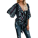 Silindashop Womens Floral Chiffon Blouse Short Sleeve V Neck Tie Front Summer Tops T-Shirt