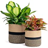 TIMEYARD 2-Pack Sturdy Jute Rope Plant Basket Modern Woven Basket for Flower Pot Floor Indoor Planters, Storage Organizer Bas