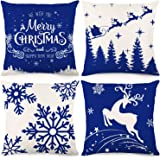 CDWERD Christmas Pillow Covers Blue Snowflakes 18x18Inches Decorative Throw Pillow Case Christmas Decorations Cotton Linen Cu