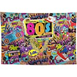 Allenjoy 7x5ft Fabric 80s Party Backdrop for Pictures Hip Hop Rock Punk Music Disco Retro Adult Birthday Colorful Graffti Bri