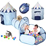 LimitlessFunN 4pc Kids Play Tent, Crawl Tunnel, Ball Pit and Star Lights [ Pop Up Portable Glow in The Dark Stars ] Children
