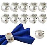 Getfitsoo Napkin Ring,Napkin Holder for Wedding Christmas Party Dinner Table Decor 12 Pcs (Silver Circle)