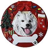 Samoyed Christmas Ornament Wreath Shaped Easily Personalized Holiday Decoration Unique Samoyed Lover Gifts