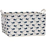 "Sea Team 17.7"" x 11.8"" x 9.8"" Square Natural Linen & Cotton Fabric Storage Bins Shelves Storage Baskets Organizers for Nurser"