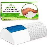 AnboCare Half Moon Bolster Pillow for Legs - Semi Roll Under Knee Pillow for Sleeping on Back - Cooling Gel Memory Foam Relie