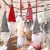 OuMuaMua 6 Pack Gnome Christmas Plush Ornaments Set - Xmas Hanging Decorations Gnome Hat Tomtees Plush Scandinavian Santa Bea