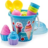 """Top Race Beach Toys, Sand Toys, 16 Piece Ice Cream Mold Set for Kids 3-10 with Large 9"""" Beach Toy Bucket Pail for Kids and To"""