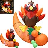 Joiedomi 5 Foot Thanksgiving Inflatable Turkey on Cornucopia; LED Light Up Blow Up Turkey for Autumn Thanksgiving Decorations