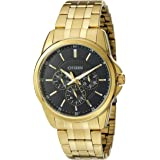 Citizen Men's Quartz Watch with 12/24 hour time and Day/Date, Goldtone Stainless Steel strap and Dark blue Dail, AG8342-52L