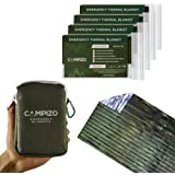 Campizo Emergency Blankets - Pack of 4 Extra Large - Thermal Mylar Foil Space Blanket for Hiking, Camping, Marathon, Prepper