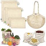 Reusable Produce Bags, Organic Mesh Bags Muslin Bags with Drawstring Bonus Reusable Grocery Bag for Shopping & Storage, Washa