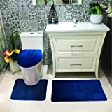 Luxury Home Collection 3 Pc Bath Rug Set Memory Foam Non-Slip Bathroom Rug Contour, Mat and Toilet Lid Cover Solid New Navy B