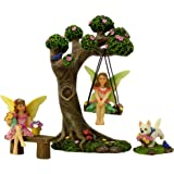 PRETMANNS Fairy Garden Fairies Accessories – Fairy Tree Swing Kit with Fairy Figurines for a Miniature Garden – 2 Fairys for