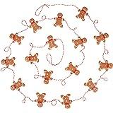 9 Foot Mini Gingerbread Man Christmas Garland | Cute Small 2 Inch Claydough Gingerbread Men Christmas Tree Garland | Gingerbr