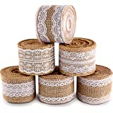 ilauke 20 Yards Natural Burlap Ribbon Roll with White Lace Trims Tape 6 Rolls for Rustic Wedding Favor Decorations