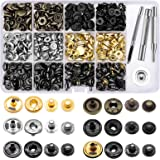 120 Set Leather Snap Fasteners Kit, 12.5mm Metal Button Snaps Press Studs with 4 Installation Tools, 6 Color Leather Snaps fo