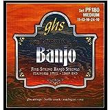GHS Strings PF180 5-String Banjo Strings, Stainless Steel, Medium (.011-.024)