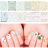 Whaline Summer Nail Decals, Nail Art Stickers Water Transfer DIY Nail, 3D Self-Adhesive Stickers for Women Girls Kids Manicur