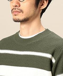Cotton Stripe Crewneck Sweater 1213-105-3190: Olive