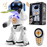 Top Race Remote Control Robot Toy Walking Talking Dancing Toy Robots for Kids, Sings, Reads Stories, Math Quiz, Shoots Discs,