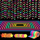 127ft Neon Party Supplies Set, 6 Colors 98.4ft UV Blacklight Reactive Tape, 29ft Neon Paper Garlands Circle Dots Stars Hangin