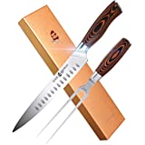 """TUO Slicing Set - 9"""" Carving Knife & 7"""" Fork - Hollow Ground German Stainless Steel Carving Knife and Fork Set 2 Pcs - Pakkaw"""
