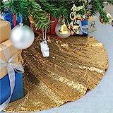 B-COOL Gold Christmas Tree Skirt Sequence Christmas Tree Skirts Round 36inch Sequin Tree Skirts Personalized Xmas Decor Home