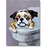 Yihui Arts Canvas Wall Art for Bathroom Funny Dog Painting Pictures Artwork with Framed for Decor