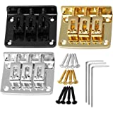 BQLZR Golden Silver Black Zinc Alloy Electric Guitar Bridge Tailpiece with Screws & Wrench for 3 String Cigar Box Guitar Pack
