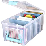 ArtBin Art Craft Storage Box, Super Semi-Satchel-Clear with Aqua Handle, 6925AA