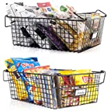 Gorgeous Metal Wire Baskets with Handles - Set of 2 Stackable Food Storage Bin Organizer - Perfect for Your Laundry Or Pantry