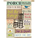 Porch Rules House Suede Flag - 28 x 1 x 44 Inches