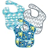 Bumkins SuperBib, 6-24 Mths+, Whales,Sea Friends,Gray Chevron, 3ct