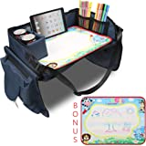 Becko Children's Travel Toy Tray Kids' Car Seat Snack, Game Tray Activity Table for Stroller, Car, Airplane, Road Trip with D