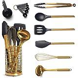 Black & Gold Kitchen Utensils with Metal Gold Utensil Holder -17PC Gold Cooking Utensils Set Includes Black & Gold Measuring