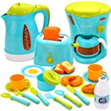 JOYIN Kids Kitchen Pretend Play Toys with Coffee Maker Machine, Kettle, Toaster, Utensils and Cutting Vegetables Cooking Set