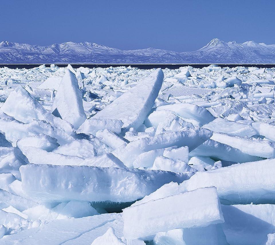 北海道 押し寄せる流氷と知床連山 Android(960×854)待ち受け 画像35950 スマポ