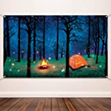 Blulu Forest Scene Camping Backdrop Supplies Camping Photography Background Photo Shoot Backdrop Party Decoration for Camping