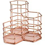 Rose Gold Hexagonal Desk Tidy | Mesh Triple Holder | Office & Bathroom Organiser | Pencil & Makeup Brush Storage | Rust-Proof