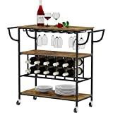 YUSONG Industrial Bar Cart on Wheels for The Home with Wine Rack and Glass Holder,Utility Kitchen Serving Cart and Kitchen St