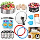 3-Quart-Accessories-Set with Tempered Glass Lid Sealing Rings Compatible with Instant Pot Mini 3, Including Steamer Basket Sp