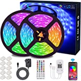 Bluetooth LED Strips Lights, ALED LIGHT 5050 RGB 2x5 meters LED Strip Lights 12V Waterproof Light Band Controlled by Remote C